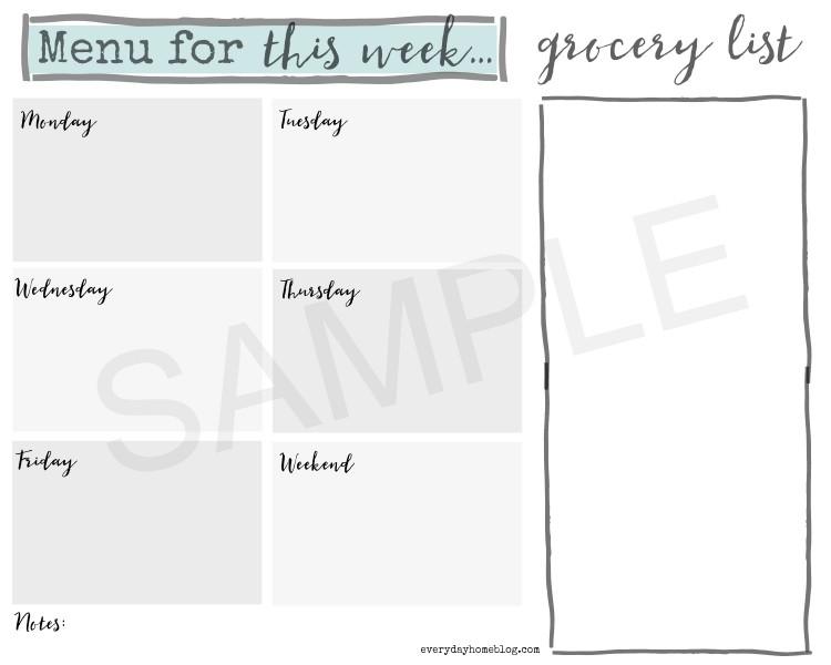Menu for This Week Printable Sample