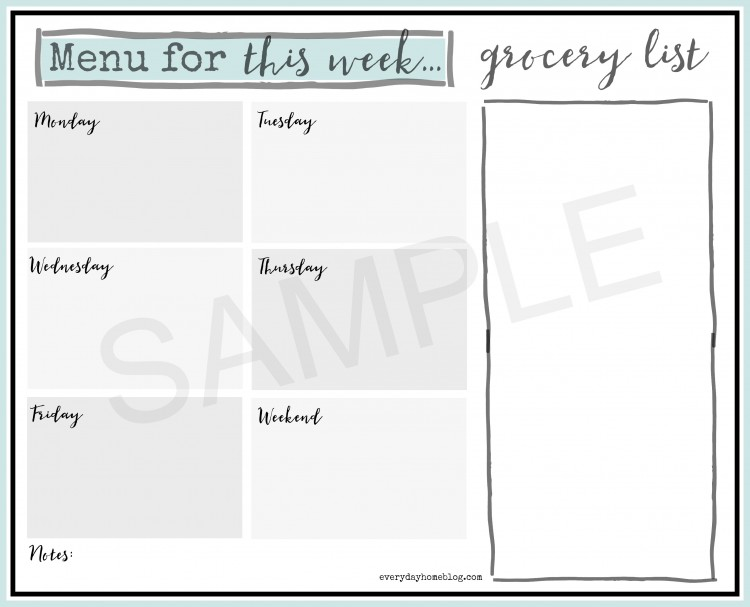 menu for the week printable sample