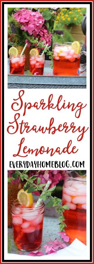 Summer Sparkling Strawberry Lemonade | The Everyday Home Blog | www.evevrydayhomeblog.com