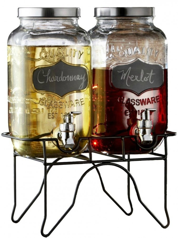 Double Beverage Dispenser Jar