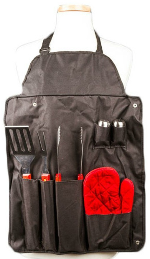 7-Pc BBQ Apron and Tool Set