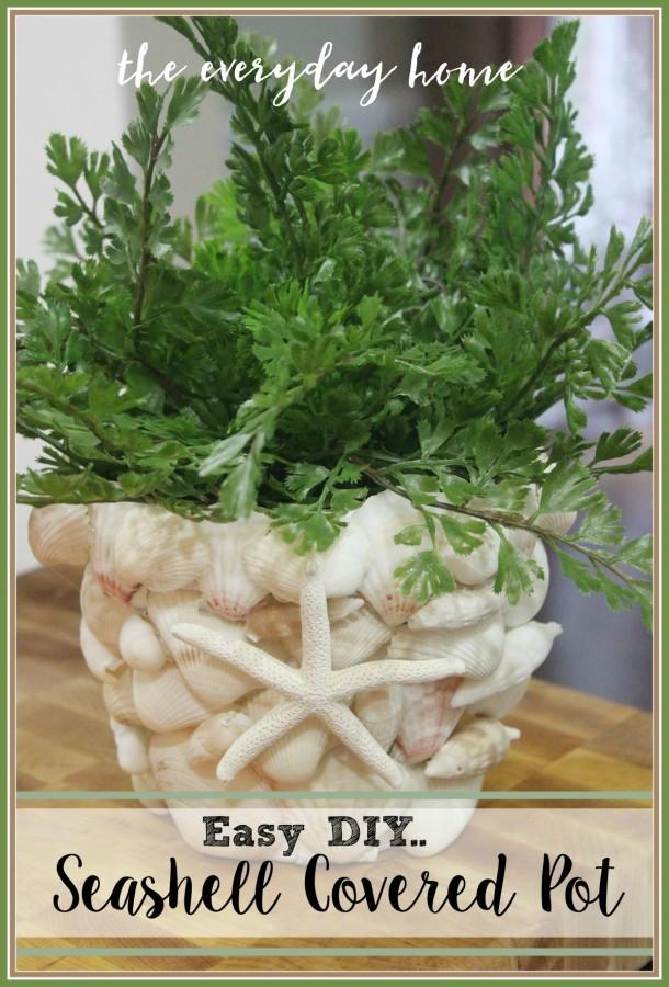 DIY Seashell Covered Pot | The Everyday Home | www.everydayhomeblog.com
