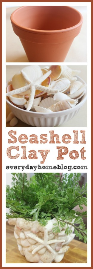 Seashell Clay Pot Planter | The Everyday Home | www.everydayhomeblog.com