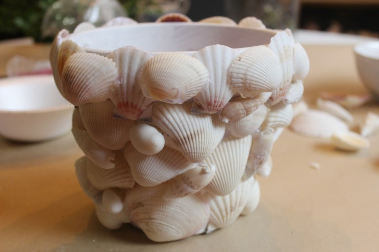 Shell Covered Terra Cotta Pot