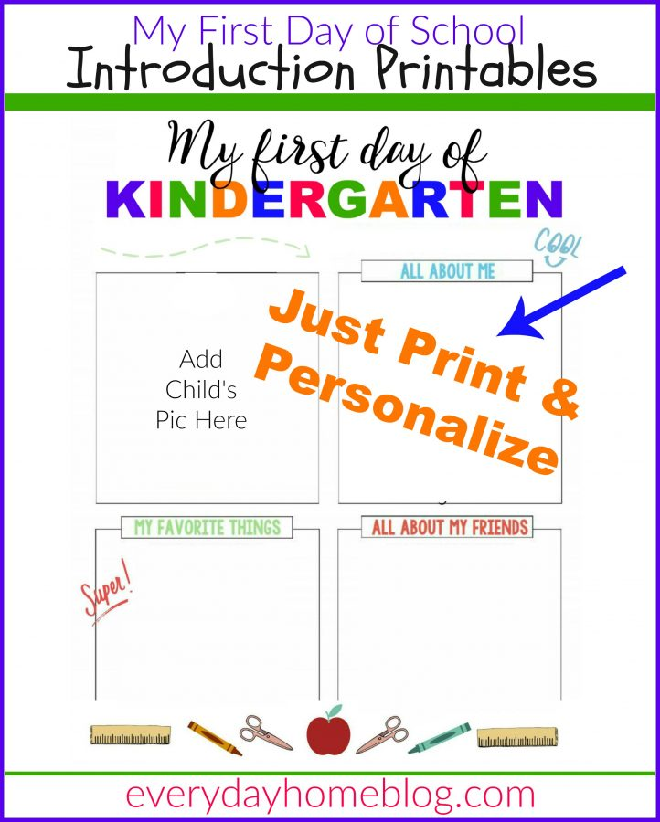 First Day of School Intro Printables  The Everyday Home  www.everydayhomeblog.com