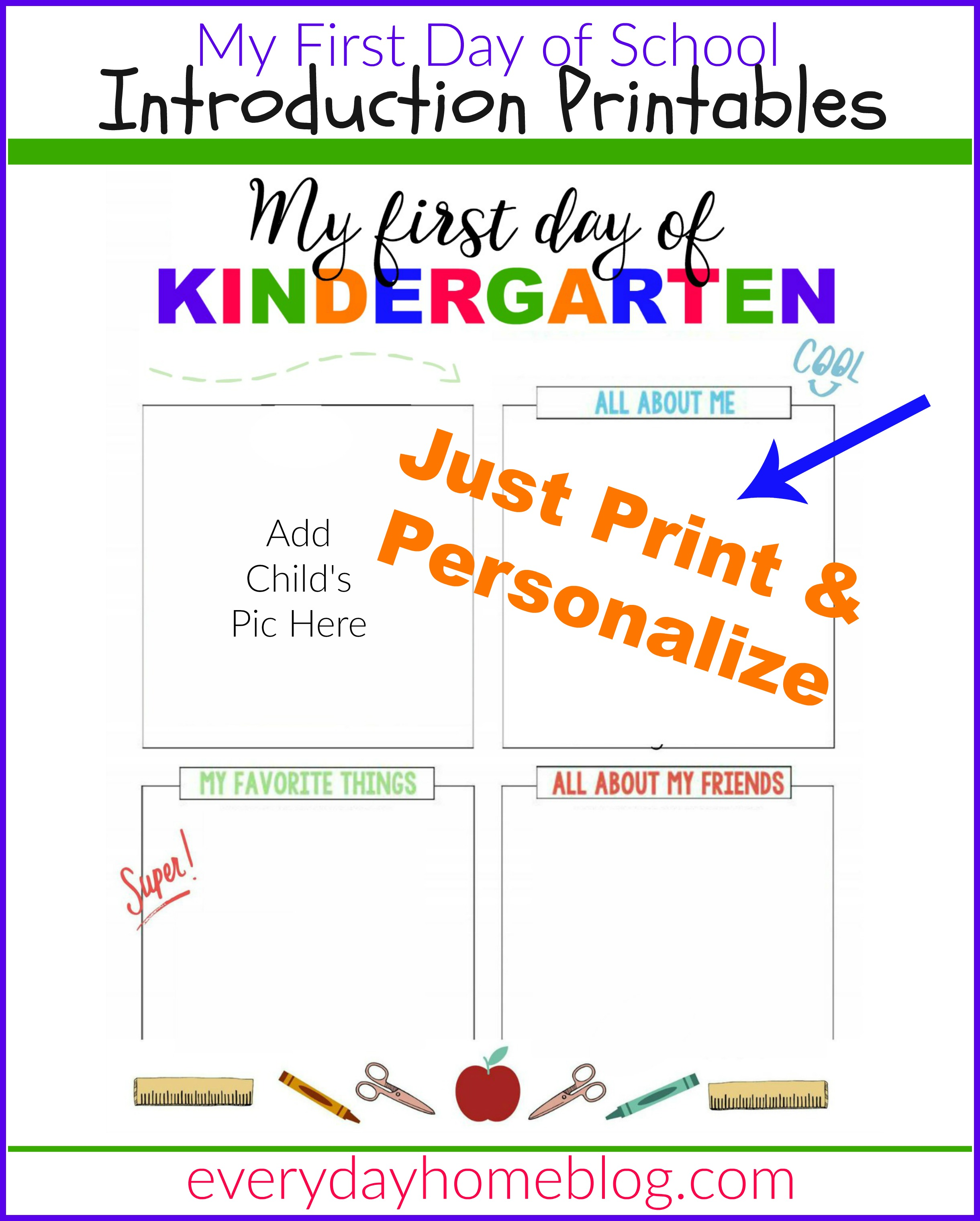 First Day of School Printables The Everyday Home – First Day of School Worksheet