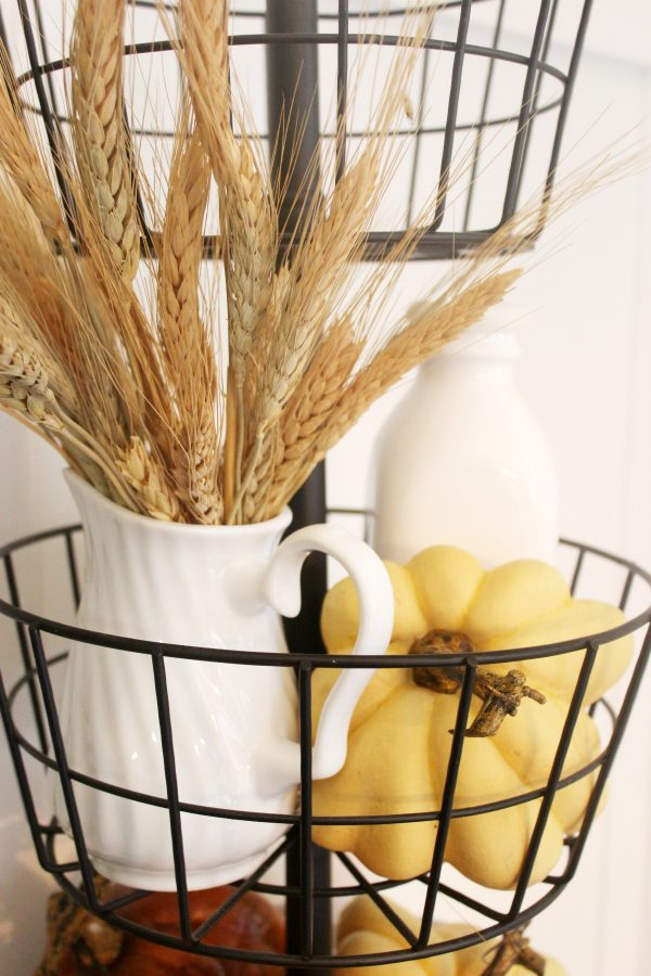 Adding Wheat to a Fall Tiered Stand | The Everyday Home | www.everydayhomeblog.com