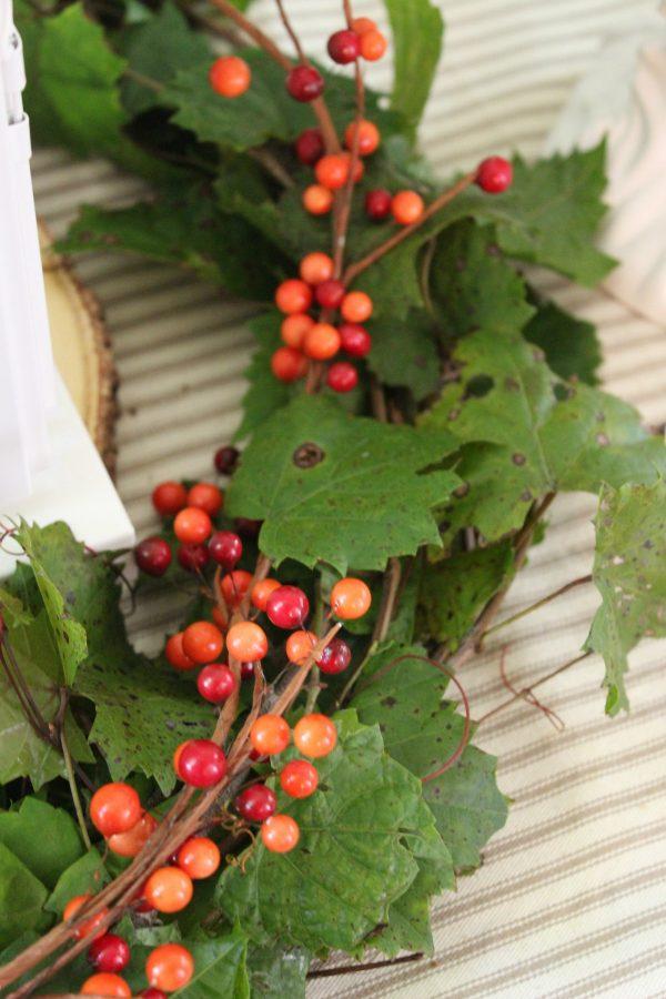 Adding-a-Berry-Garland-to-a-Fresh-Grapevine-Wreath | The Everyday Home | www.everydayhomeblog.com
