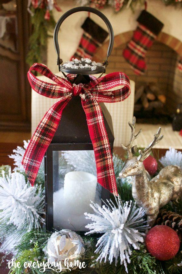 black-lantern-with-tartan-plaid-bow-2015-christmas-dining-room-tour-www-everydayhomeblog-com_