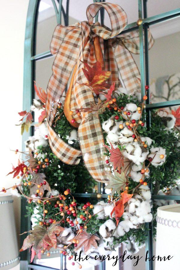 cotton-and-berry-wreath  | The Everyday Home | www.everydayhomeblog.com