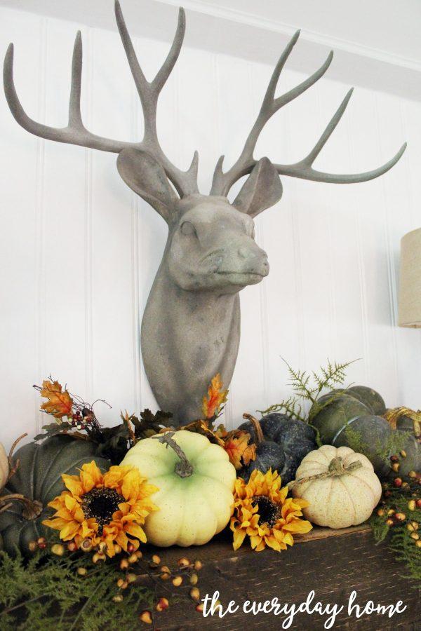 deer-head-on-rustic-fall-mantel   The Everyday Home   www.everydayhomeblog.com