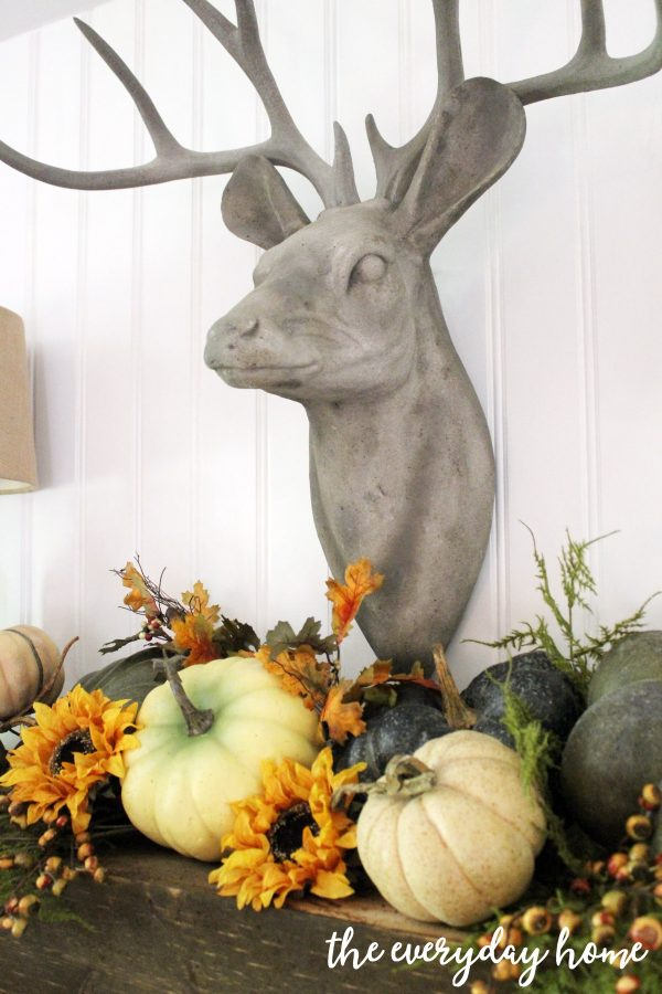 deer-and-pumpkins-on-rustic-fall-mantel | The Everyday Home | www.everydayhomeblog.com