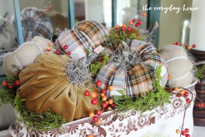 Fabric Plaid Pumpkin Centerpiece