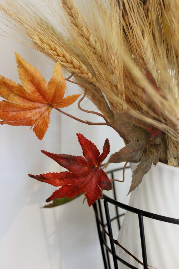 Fall Leaves in a Tiered Stand   The Everyday Home   www.everydayhomeblog.com