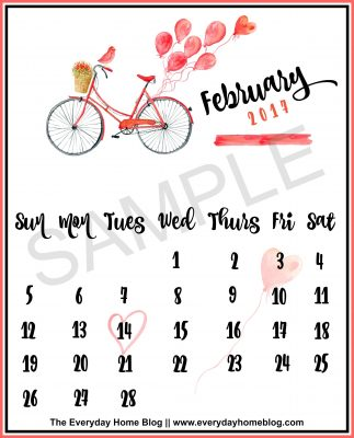 Three FREE February 2017 Calendar Printables