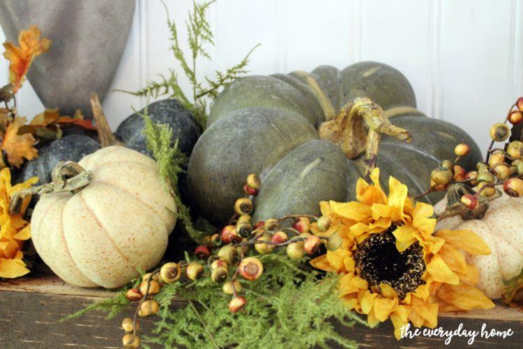 heirloom-pumpkins-on-rustic-fall-mantel    The Everyday Home   www.everydayhomeblog.com