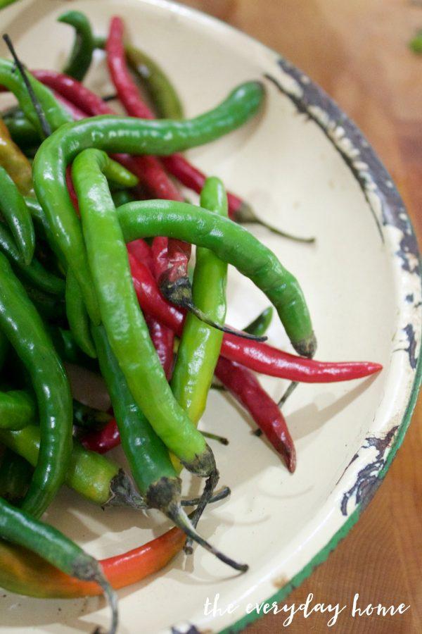 peppers-for-pepper-vinegar | The Everyday Home | www.everydayhomeblog.com
