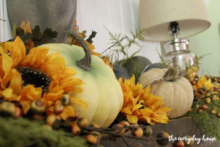 pumpkins-on-a-fall-mantel   The Everyday Home   www.everydayhomeblog.com