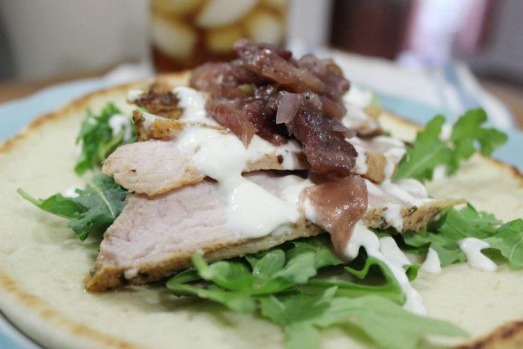 Roasted-Pork-Flatbread-Sandwich-Apple-Bacon-Chutney   The Everyday Home   www.everydayhomeblog.com