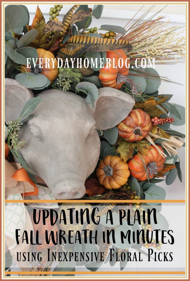 using-inexpensive-floral-picks-to-update-a-plain-fall-wreath | the everyday home | www.everydayhomeblog.com