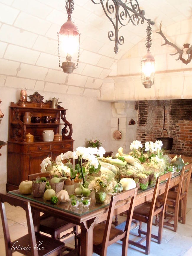 A Fall Kitchen- in a French Chateau- by Botanic Bleu-shared at -One More Time Events-www.onemoretimeevents.cm