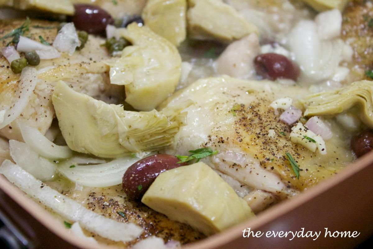 adding-artichokes-to-chicken-provencal | The Everyday Home | www.everydayhomeblog.com
