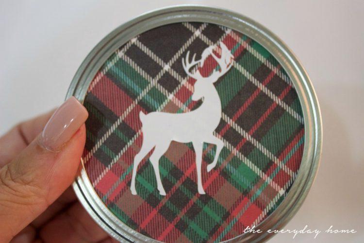 deer-sticker-on-plaid-paper-for-christmas-ornament | The Everyday Home | www.everydayhomeblog.com
