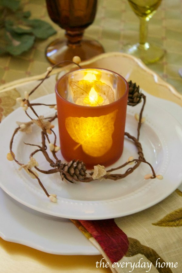 leaf-candleholder-on-fall-tablescape | The Everyday Home | www.everydayhomeblog.com