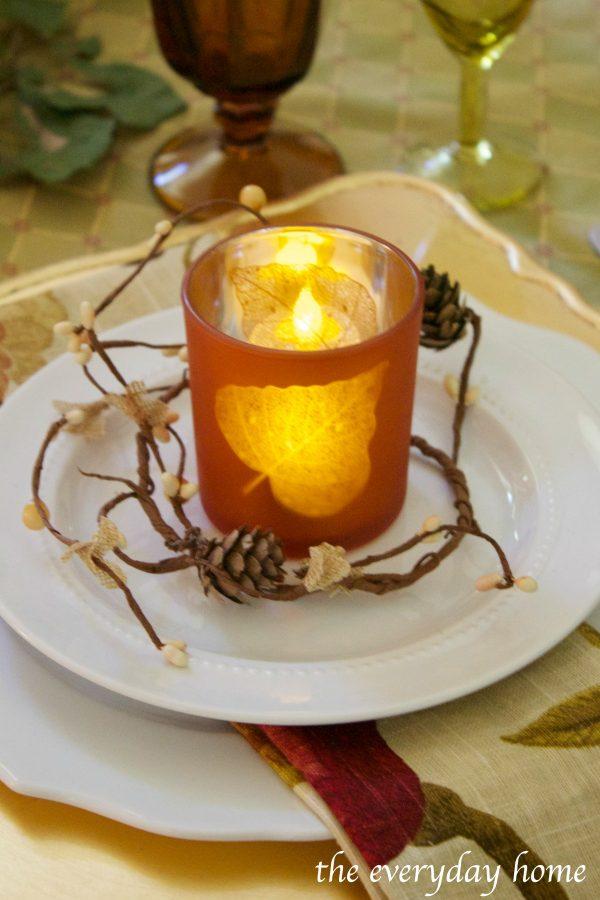 leaf-candleholder-on-fall-tablescape | The Everyday Home | www.everydayhomeblog.com