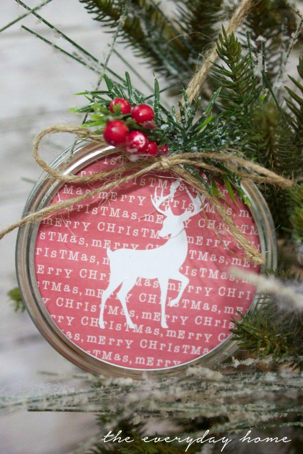 making-a-scrapbook-paper-mason-jar-lid-christmas-ornament | The Everyday Home | www.everydayhomeblog.com