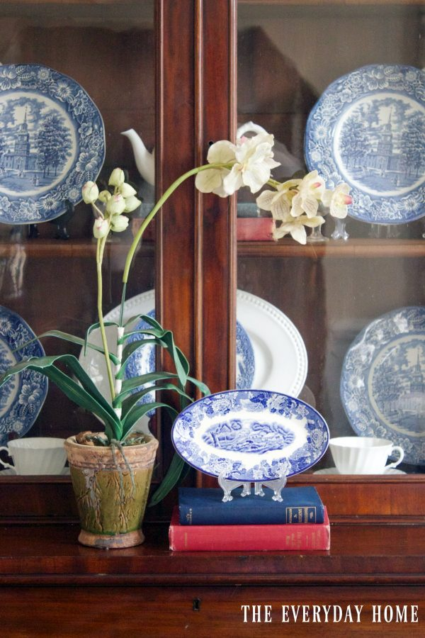 orchid-and-blue-dishes-on-hutch | The Everyday Home | www.everydayhomeblog.com