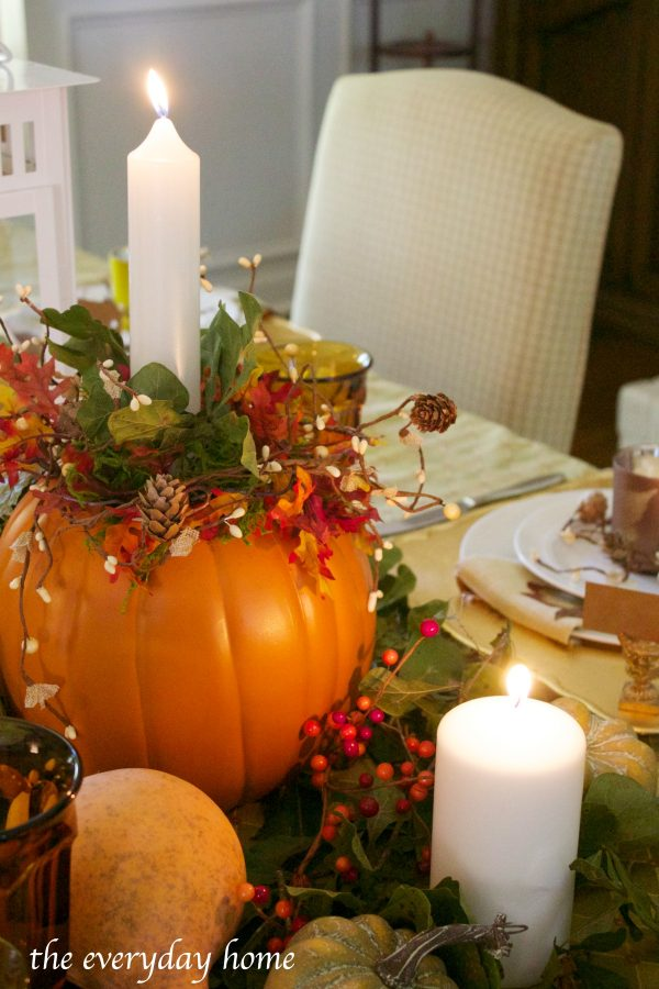 pumpkin-candleholder-centerpiece-in-a-fall-tablescape | The Everyday Home | www.everydayhomeblog.com