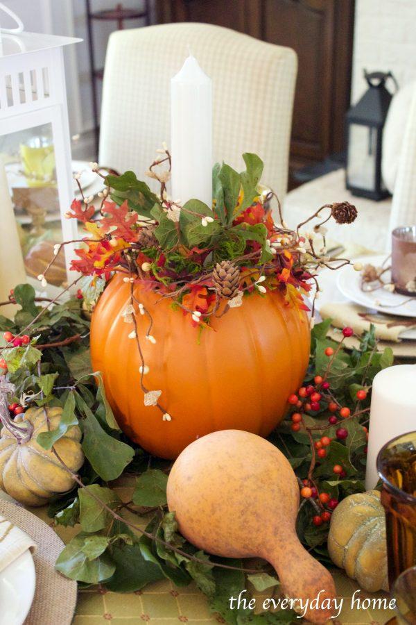 pumpkin-candleholder-on-a-fall-tablescape | The Everyday Home | www.everydayhomeblog.com