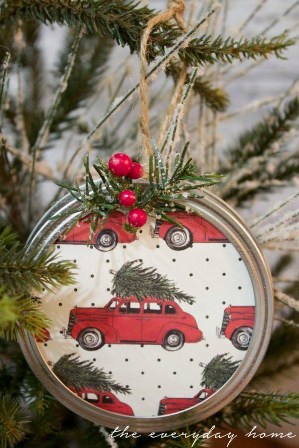 scrapbook-paper-mason-jar-lid-christmas-ornament | The Everyday Home | www.everydayhomeblog.com