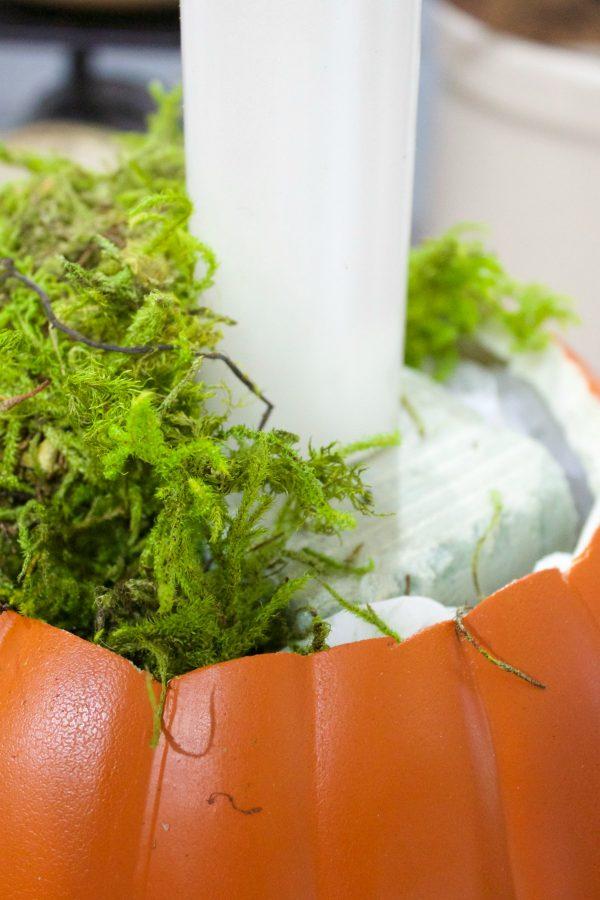 adding-moss-to-pumpkin-candleholder-planter | The Everyday Home | www.everydayhomeblog.com