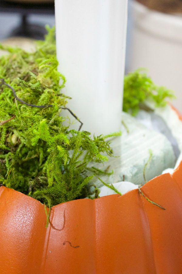 adding-moss-to-pumpkin-candleholder-planter | The Everyday Home | www.everydayhomeblog.com