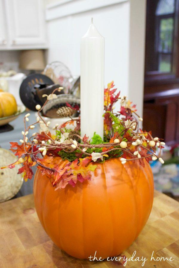 diy-pumpkin-candleholder-planter | The Everyday Home | www.everydayhomeblog.com