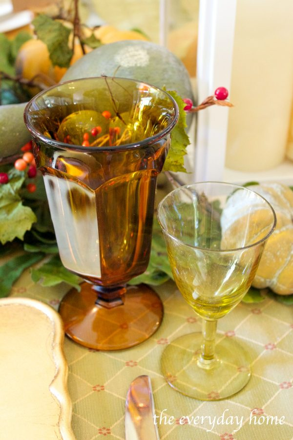 fall-tablescape-vintage-stemware | The Everyday Home | www.everydayhomeblog.com