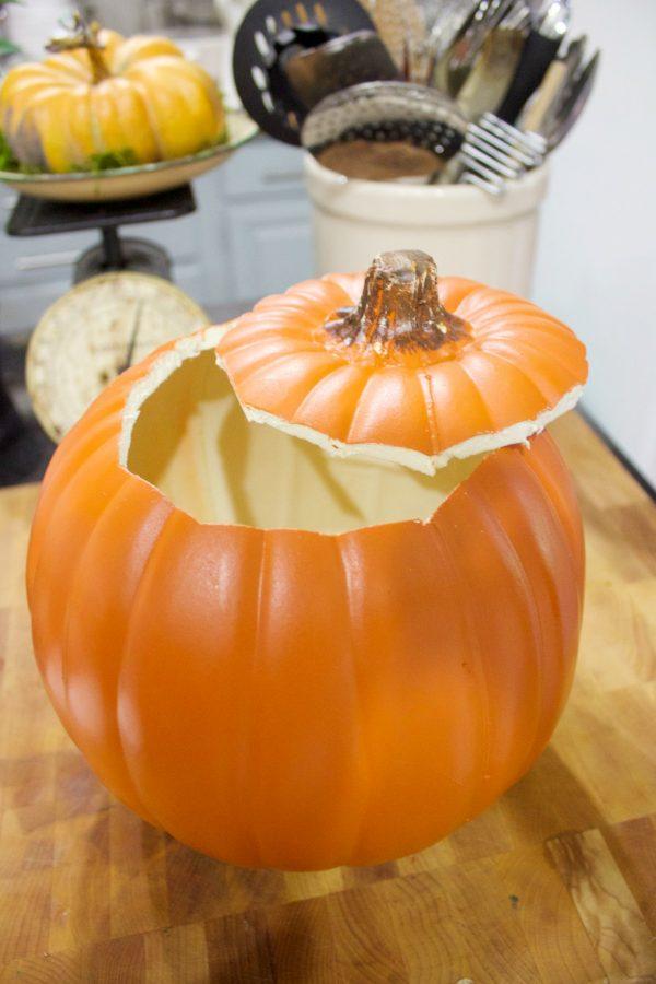 preparing-the-craft-store-pumpkin | The Everyday Home | www.everydayhomeblog.com