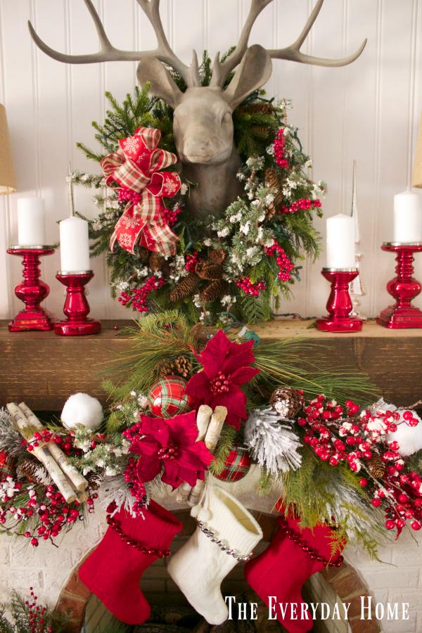 a-festive-christmas-mantel-and-fireplace | The Everyday Home | www.everydayhomeblog.com