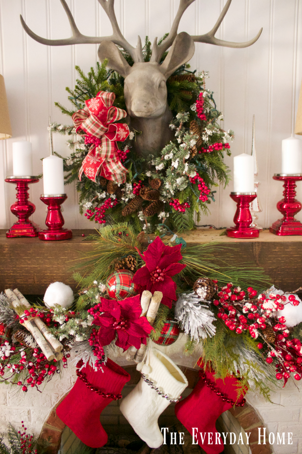 a-festive-christmas-mantel-and-fireplace | The Everyday Home | www.everydayhomeblog.com
