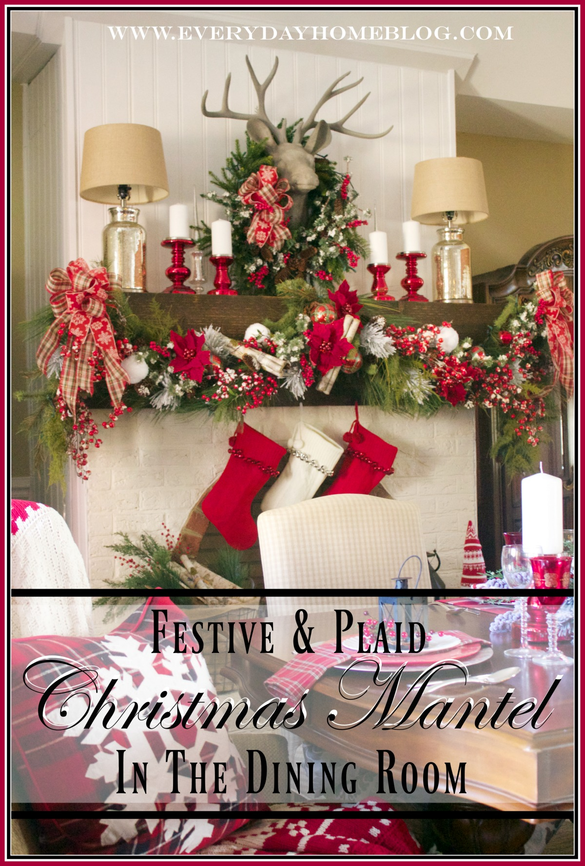 a-festive-plaid-christmas-mantel-in-the-dining-room | The Everyday Home | www.everydayhomeblog.com