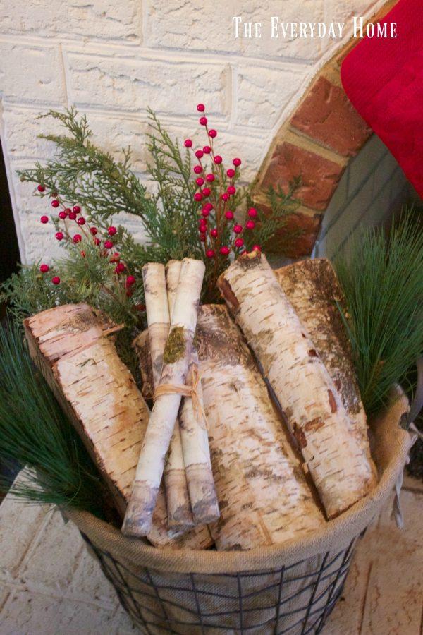 festive-christmas-mantel-basket-of-birch-logs | The Everyday Home | www.everydayhomeblog.com