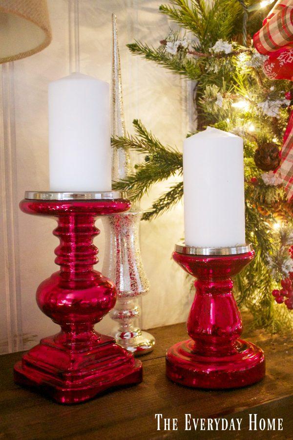 festive-christmas-mantel-mercury-glass-candleholders | The Everyday Home | www.everydayhomeblog.com