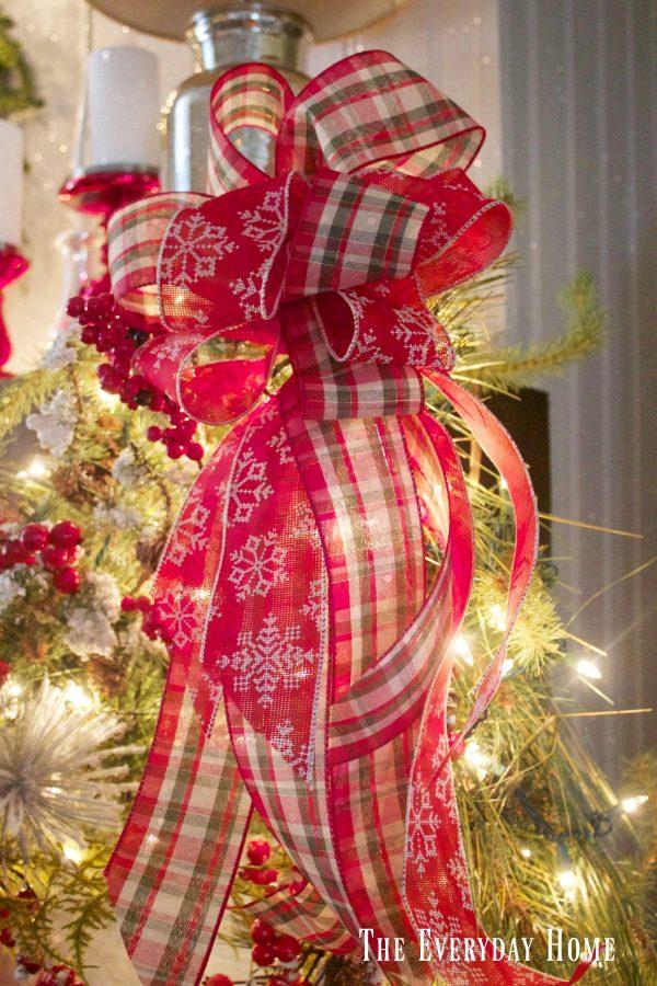 festive-christmas-mantel-plaid-bow | The Everyday Home | www.everydayhomeblog.com