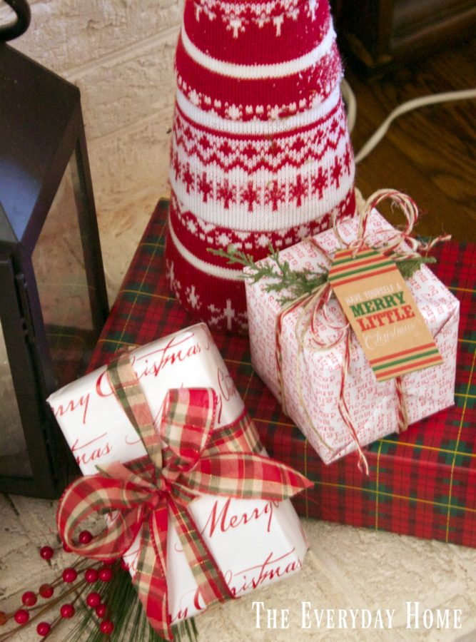festive-christmas-mantel-wrapped-packages | The Everyday Home | www.everydayhomeblog.com