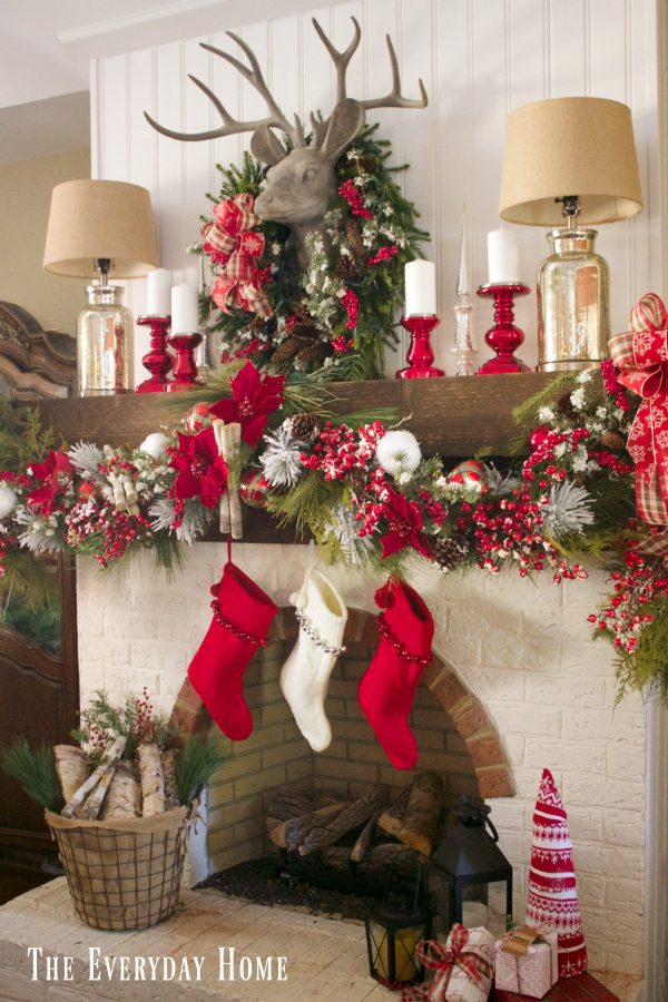 festive-christmas-mantel-and-fireplace-in-red-and-white | The Everyday Home | www.everydayhomeblog.com