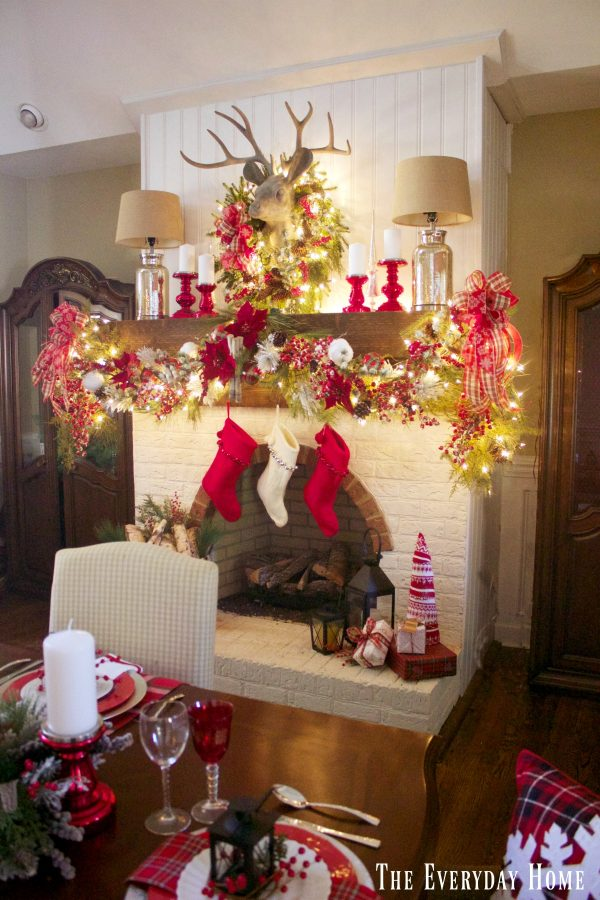 festive-christmas-mantel-in-the-dining-room | The Everyday Home | www.everydayhomeblog.com