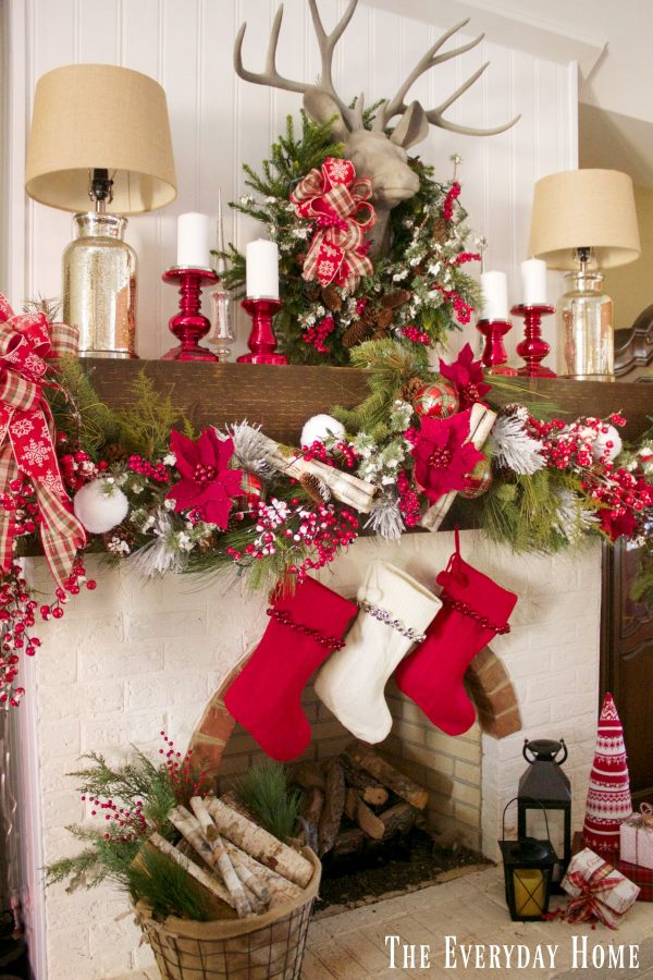 festive-plaid-christmas-mantel | The Everyday Home | www.everydayhomeblog.com