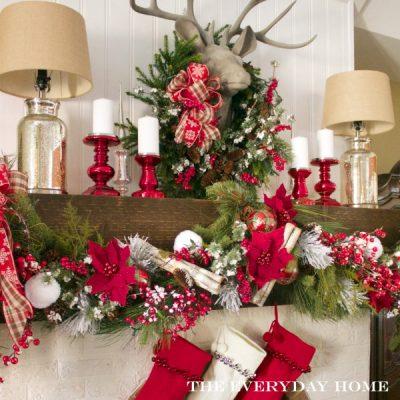 Festive and Plaid Christmas Mantel